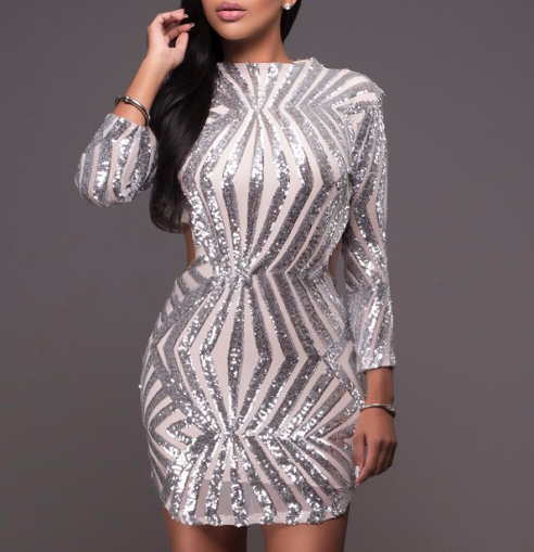 Moda Geometric Sequined Dress - 2 colors - Awesome World - Online Store  - 3