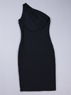 One Shoulder Bandage Dress - Black&Nude