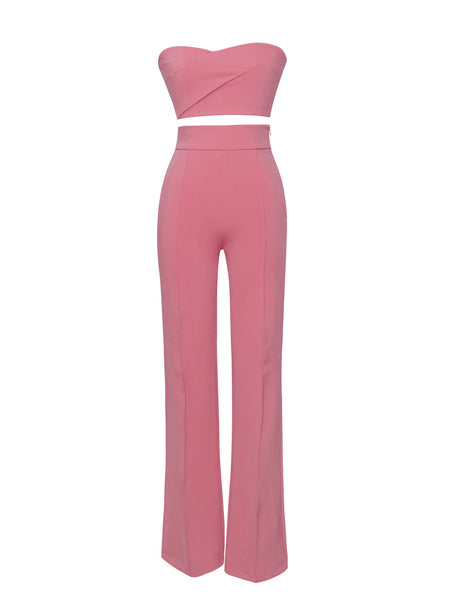 Salmon Pink Two Piece Stretch Crepe Pantsuit - Awesome World - Online Store  - 3
