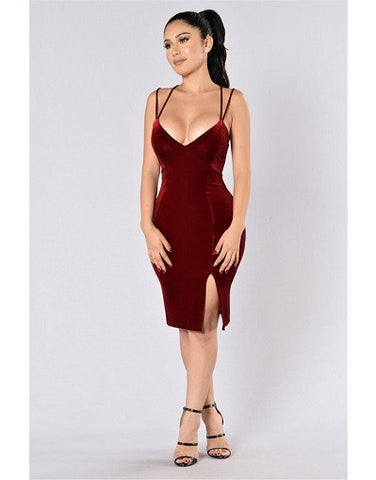 Wine Red Velvet Split Dress