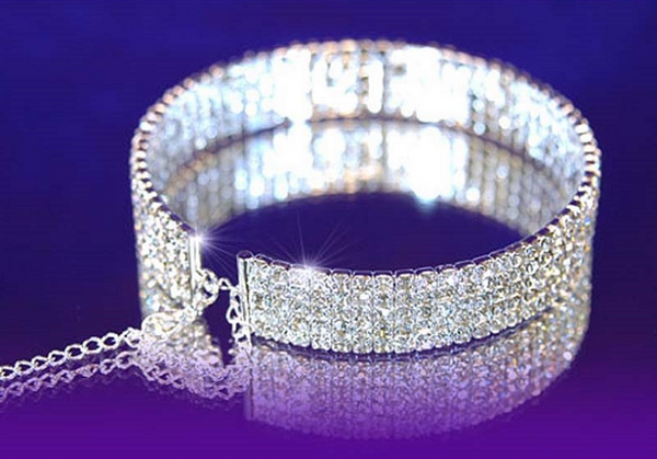 Rhinestone Choker - 5 rows - Awesome World - Online Store  - 2