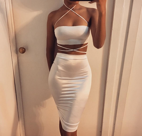 White Satin Two Pieces Set