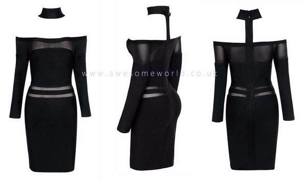 Choker Mesh Bandage Dress - Awesome World - Online Store  - 3