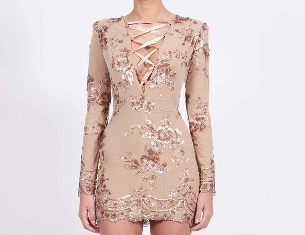 Glam Edition - Lace Up Neck w Sequins Dress - Awesome World - Online Store  - 4