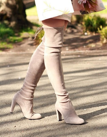 Kardash Khaki Over Knee Boots - 2 Heel Sizes