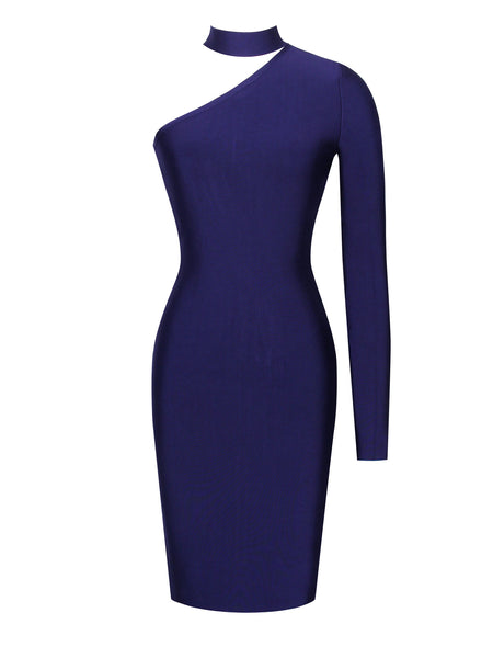 Asymmetric Cut Out Long Sleeve Bandage Dress - Awesome World - Online Store  - 3
