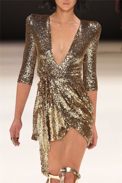 Sequin Deep V Neck Dress - Black&Gold - Awesome World - Online Store  - 4
