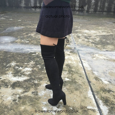 Kardash Black Over Knee Boots - 2 Heel Sizes & 2 Models - Awesome World - Online Store  - 3