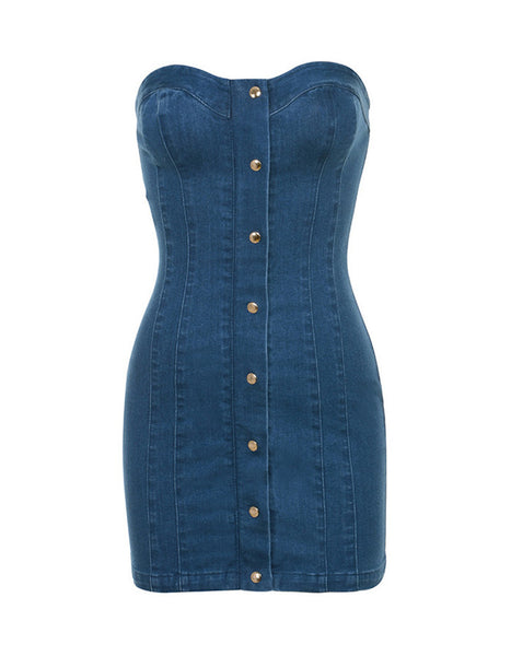 Strapless Jeans Dress - Awesome World - Online Store  - 4