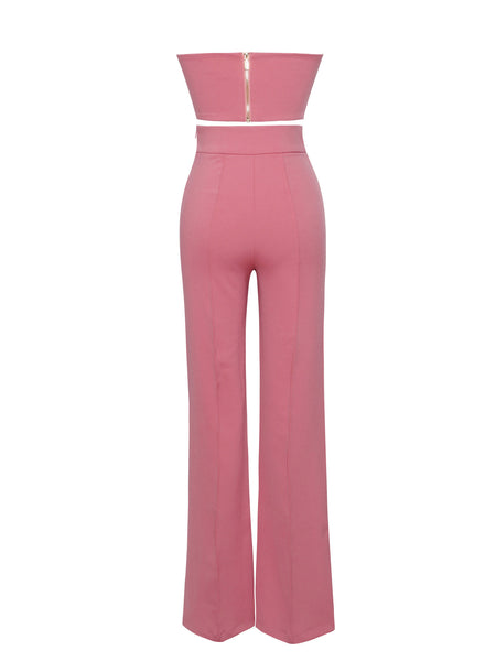 Salmon Pink Two Piece Stretch Crepe Pantsuit - Awesome World - Online Store  - 4