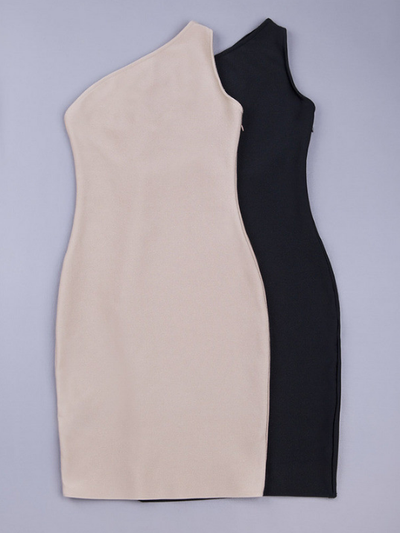 One Shoulder Bandage Dress - Black&Nude - Awesome World - Online Store  - 2