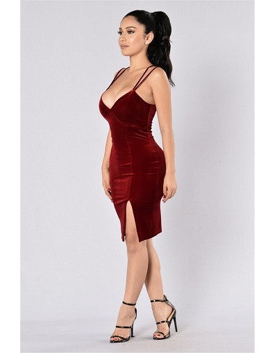 Wine Red Velvet Split Dress - Awesome World - Online Store  - 2