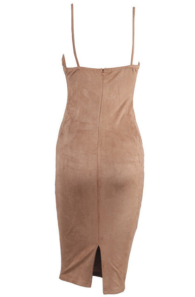 Camel Suede Style Dress - Awesome World - Online Store  - 5