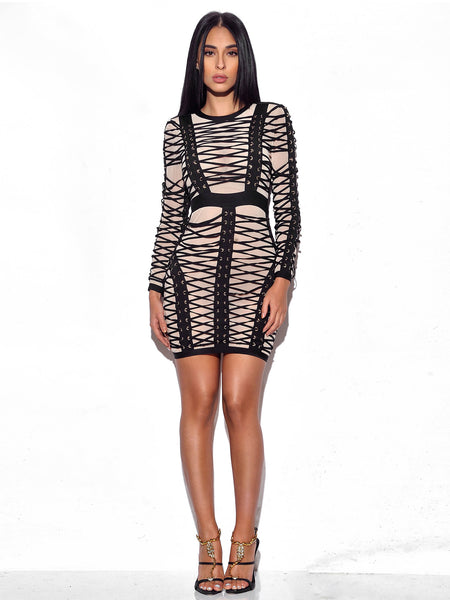 Lace Up Detail Long Sleeve Bandage Dress - Awesome World - Online Store  - 3