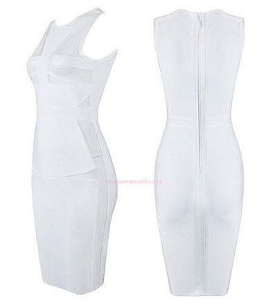 Mesh Snow Bandage Dress - Awesome World - Online Store  - 3