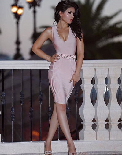 Milano Bandage Dress - Black&Pink - Awesome World - Online Store  - 1