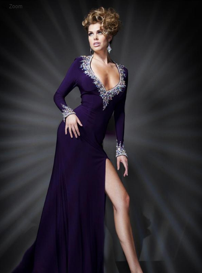 A-line Long Sleeves Purple Gown - Awesome World - Online Store  - 4