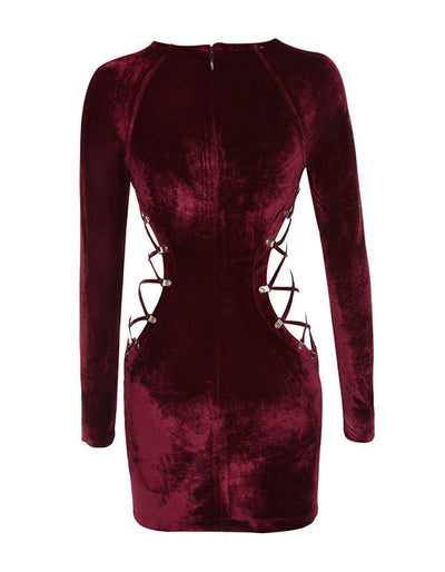 Red Velvet Dress - Awesome World - Online Store  - 3