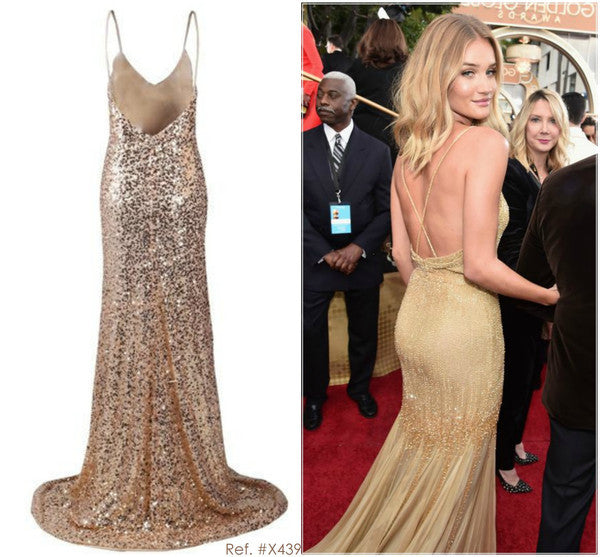 Backless Sequinned Gold Gown - Awesome World - Online Store  - 8