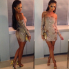 Glam Edition - No Shoulder Beige Glitter Dress - Awesome World - Online Store  - 1