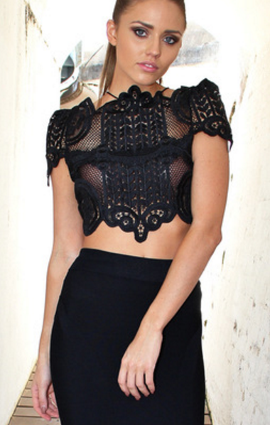 Capri Mesh Crop Top - Black&White