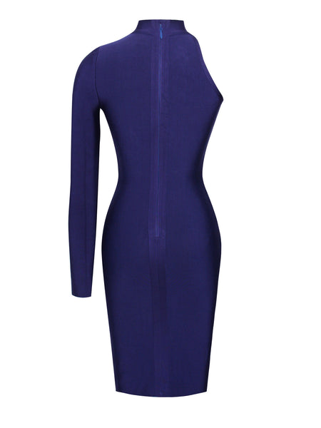 Asymmetric Cut Out Long Sleeve Bandage Dress - Awesome World - Online Store  - 4