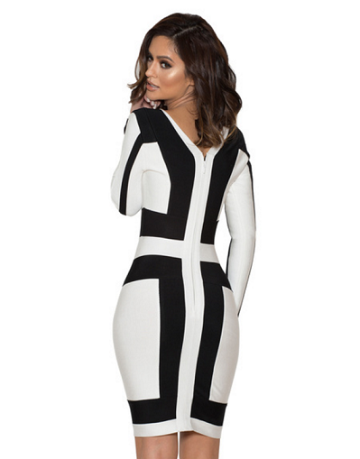 Monochrome Deep V Neck Dress - Awesome World - Online Store  - 2