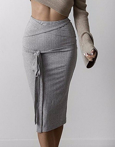 Knitted Straps Midi Skirt - Awesome World - Online Store  - 1