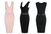 Milano Bandage Dress - Black&Pink