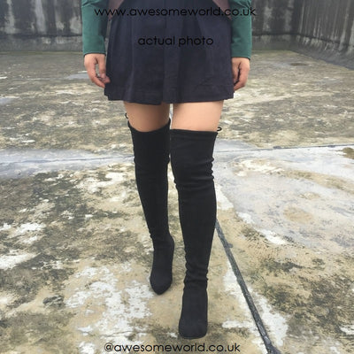 Kardash Black Over Knee Boots - 2 Heel Sizes & 2 Models - Awesome World - Online Store  - 4