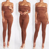 Brown Strapless Jumpsuit - Awesome World - Online Store  - 2