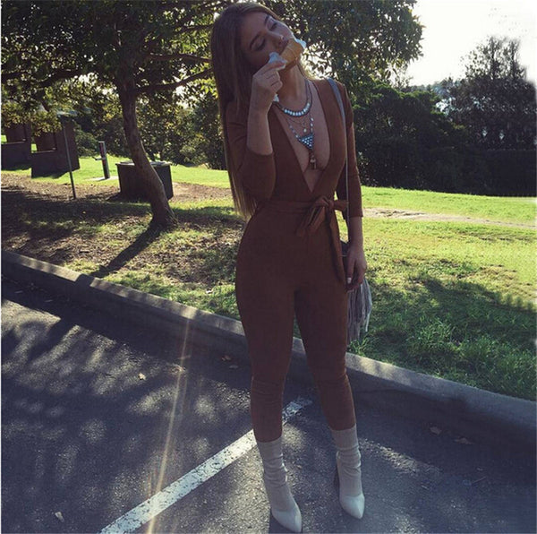 V-neck Brown Jumpsuit - Awesome World - Online Store  - 4