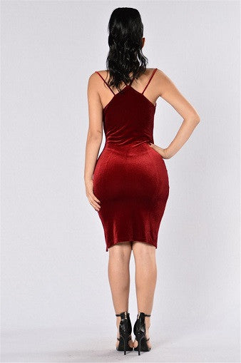 Wine Red Velvet Split Dress - Awesome World - Online Store  - 3