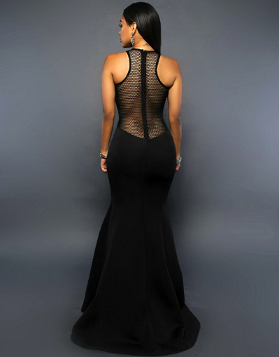 Mesh Maxi Dress - Black&White - Awesome World - Online Store  - 4