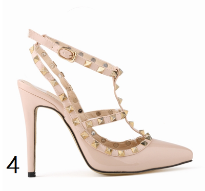 12 cm Heel Bright Rivets Pumps - 10 colors - Awesome World - Online Store  - 8