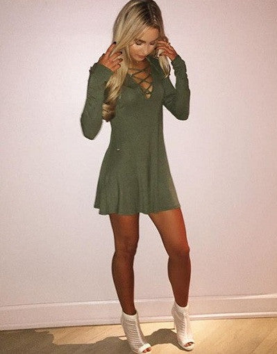 Army Lace Up Mini Dress - Awesome World - Online Store  - 1