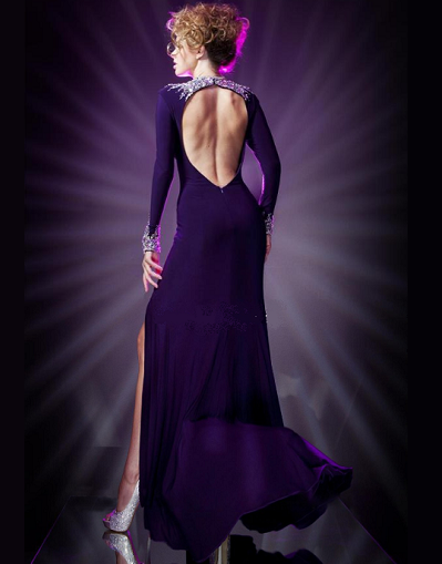 A-line Long Sleeves Purple Gown - Awesome World - Online Store  - 1