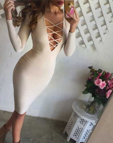 The Lace Up Midi Dress - 2 colors - Awesome World - Online Store  - 2