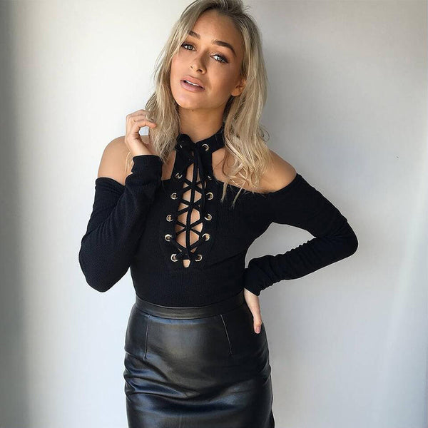 Cut out lace up bodysuit - in 5 Colors - Awesome World - Online Store  - 3
