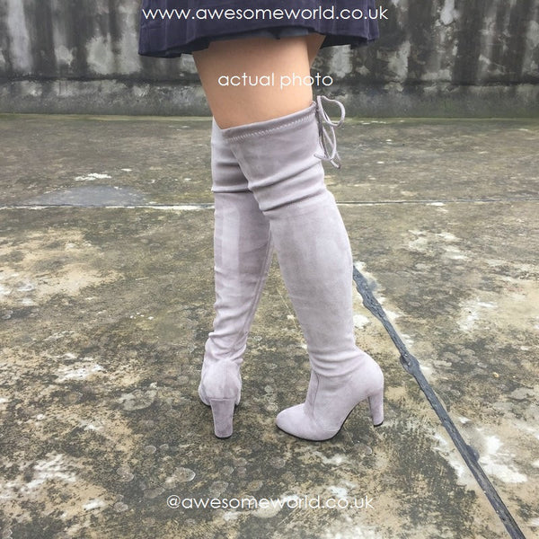 Kardash Grey Over Knee Boots - 2 Heel Sizes & 2 Models - Awesome World - Online Store  - 5