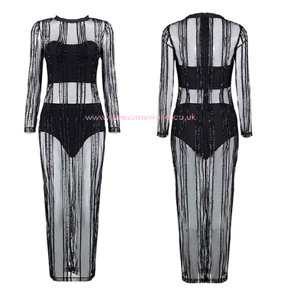 Mesh Stripes Glitter Dress - Awesome World - Online Store  - 5