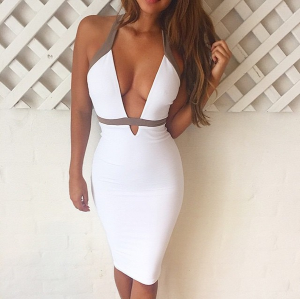 White V-Neck Halter Dress - Awesome World - Online Store  - 3
