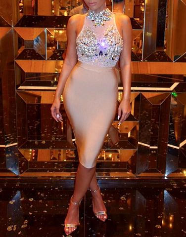 Luxury Bling Mesh Bandage Dress - Limited Edition