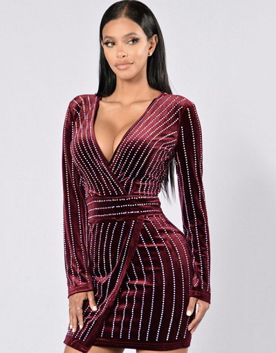 Rhinestone Velvet Dress - 2 colors - Awesome World - Online Store  - 1