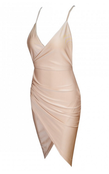 Nude Silky Style Mini Dress - Awesome World - Online Store  - 3