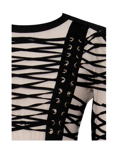 Lace Up Detail Long Sleeve Bandage Dress - Awesome World - Online Store  - 7
