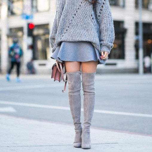 Kardash Grey Over Knee Boots - 2 Heel Sizes & 2 Models - Awesome World - Online Store  - 13