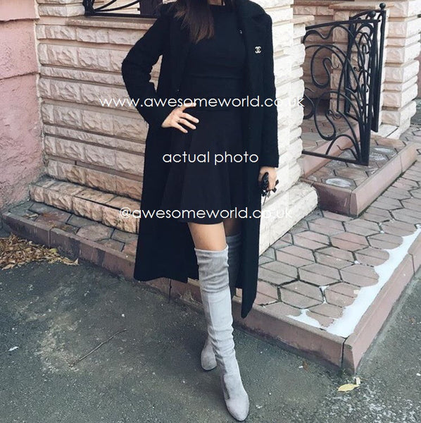 Kardash Grey Over Knee Boots - 2 Heel Sizes & 2 Models - Awesome World - Online Store  - 3