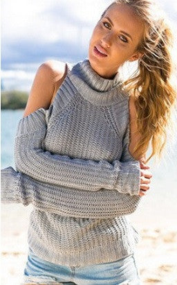 High Neck Without Shoulders Sweater -  6 Colors - Awesome World - Online Store  - 9