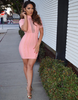 Bandage Mesh Neck Pink Dress w/ Chain Details - Awesome World - Online Store  - 2
